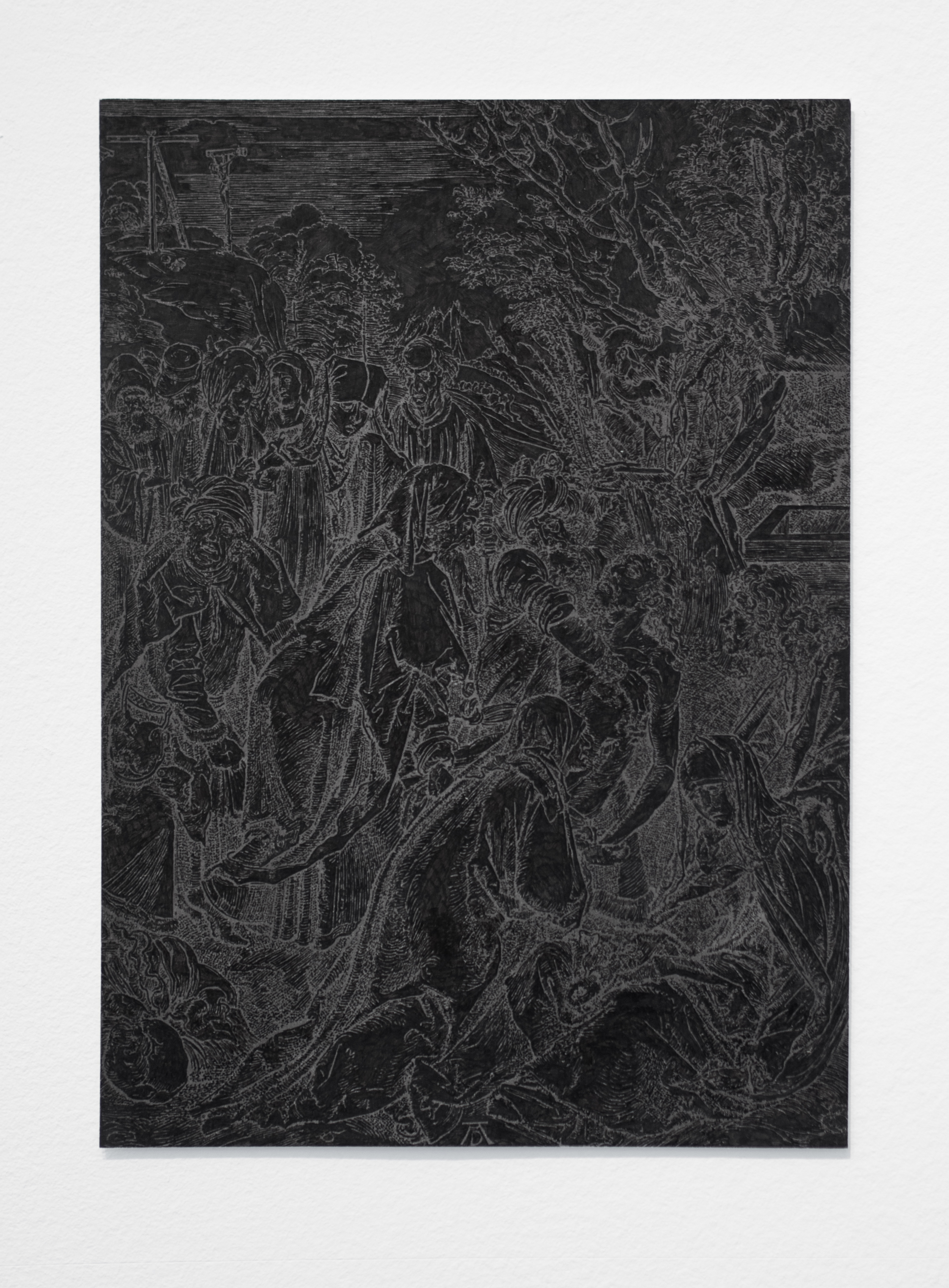 """Illumination (Black), part 7    India ink on a page torn from an Albrecht Durer woodcut anthology, paper  approx. 8.5"""" x 6""""  2015"""