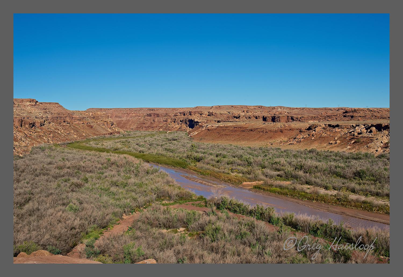 Colorado River flowing under the Navajo Bridge near Lee's Ferry.