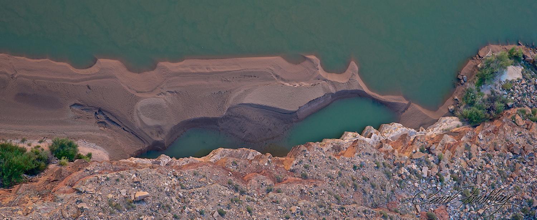 Sand bar in Colorado River looking down from Navajo Bridge.