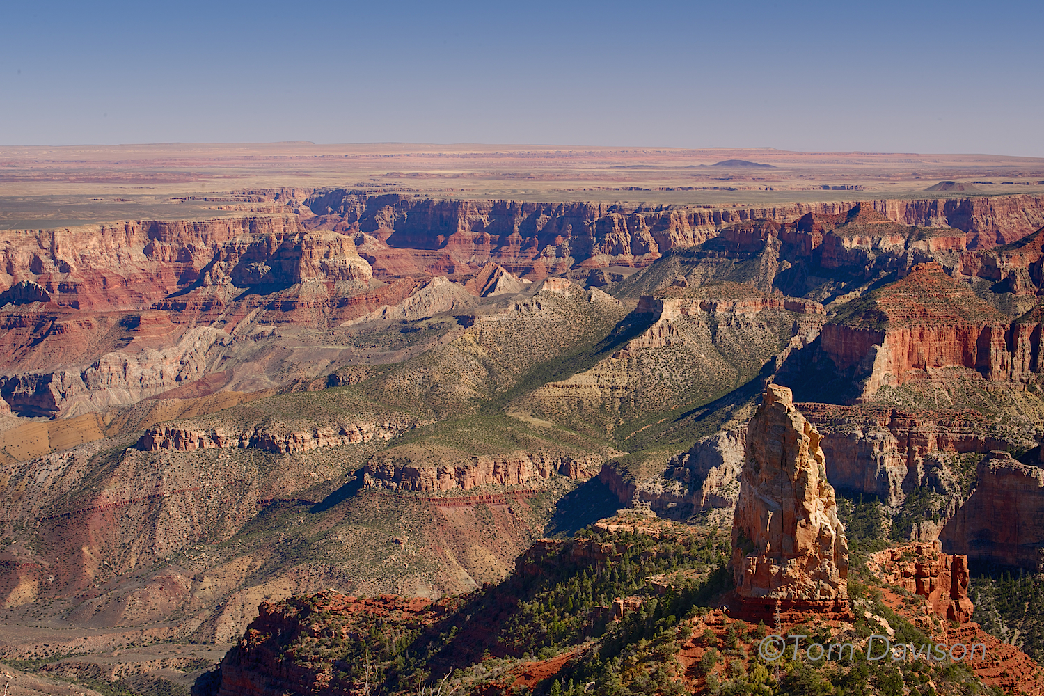 This image really shows the height difference between the North and South Rim.