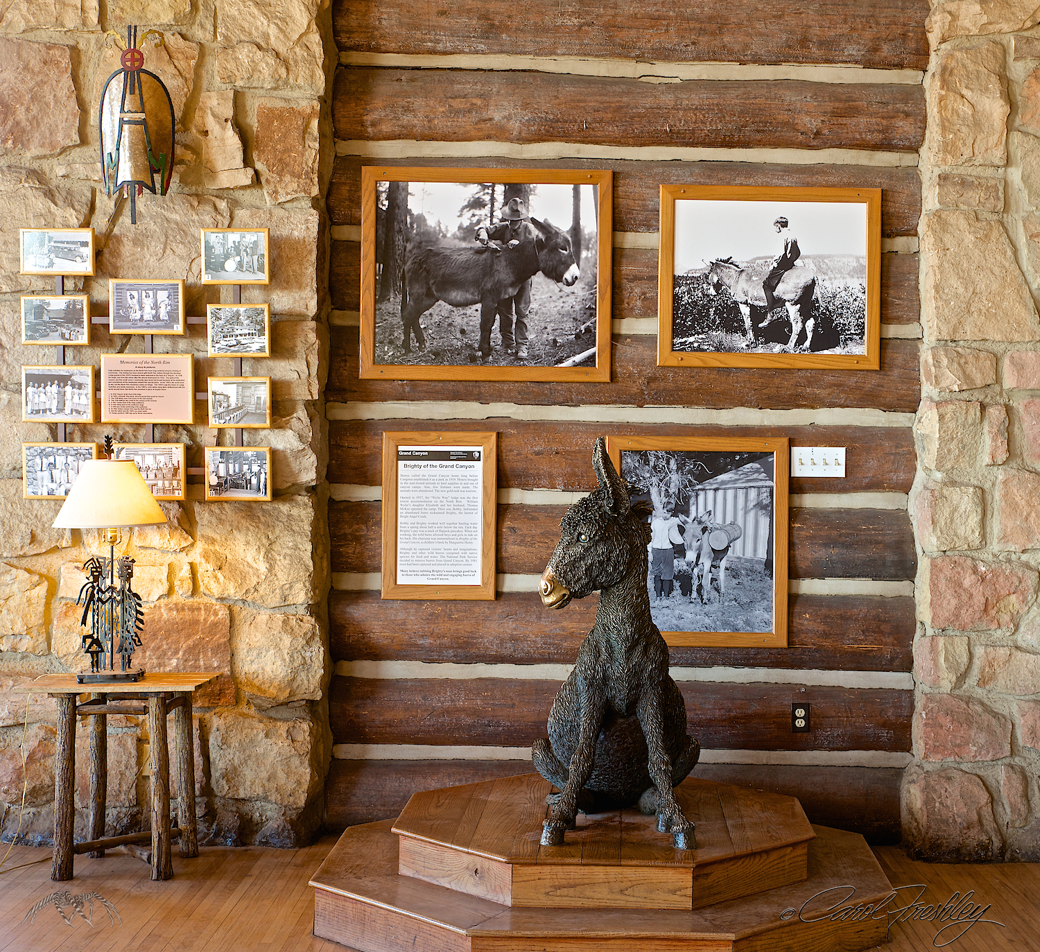 Prominent exhibit at the Lodge. Pack animals continue to play a significant role in Grand Canyon activities.