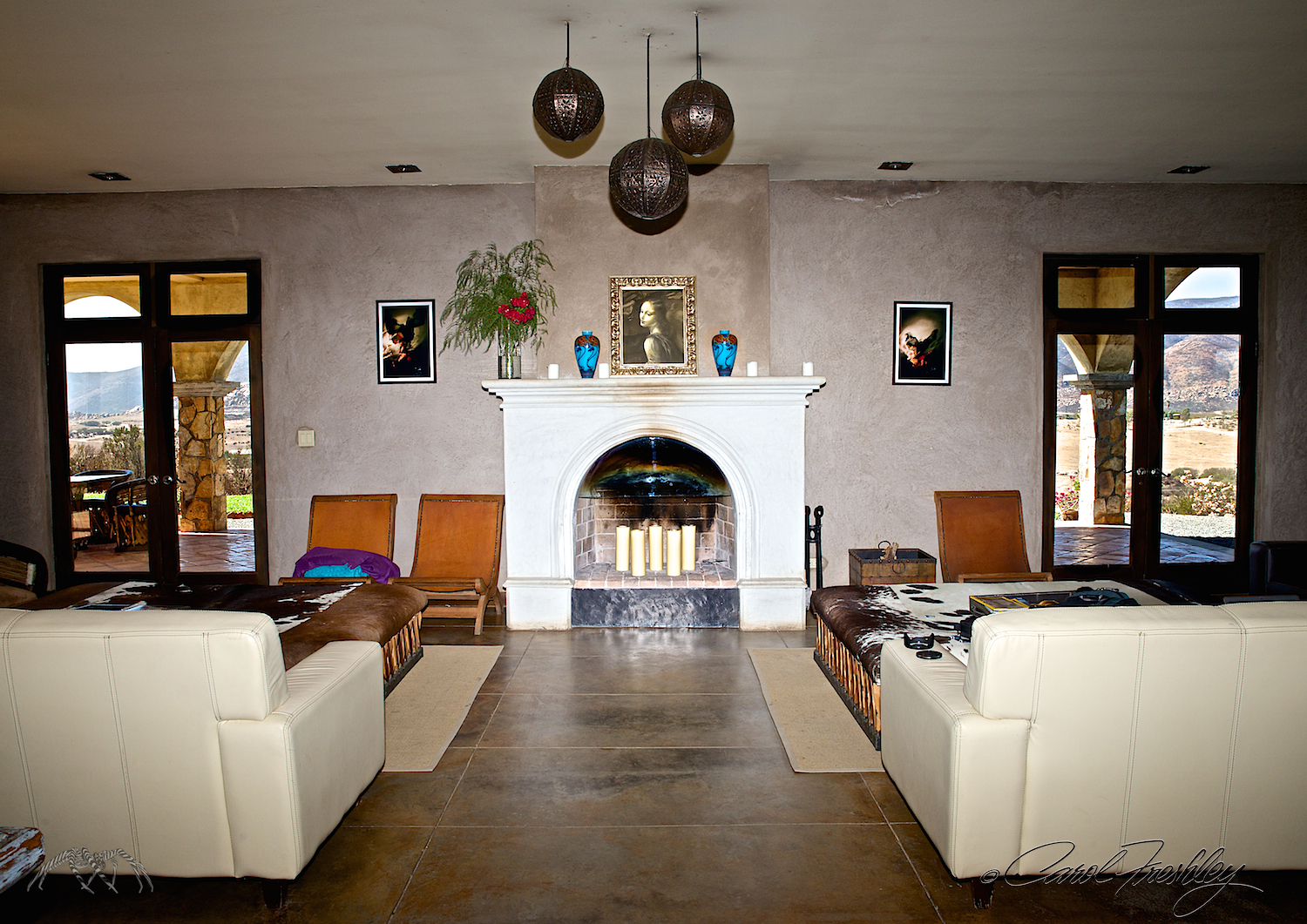 The fireplace would be an excellent alternative if the outside patio is too cold on the wedding day.
