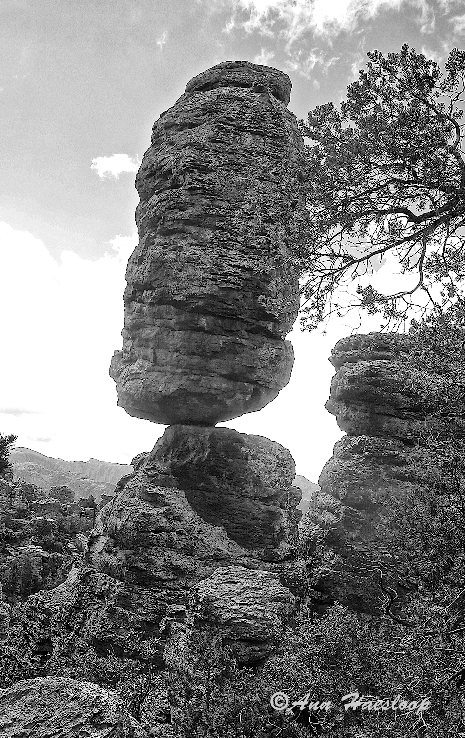 An outlined image of Balanced Rock. Actually, there are many such rocks in the Chiricahuas. But this must be the big cahuna of balanced rocks!
