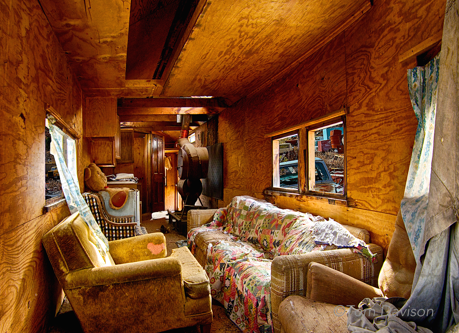 Inside the motor home. Wood paneling!