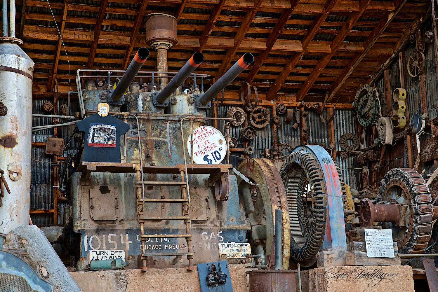 This is Big Bertha. When it is too cold Don can't get it to start. But, if you are ever there when it is warm enough . . . pay the $10 because this lady can really put out powerful canon shot sound. Scared me even though I knew it was coming. Big Bertha is a diesel powered generator.