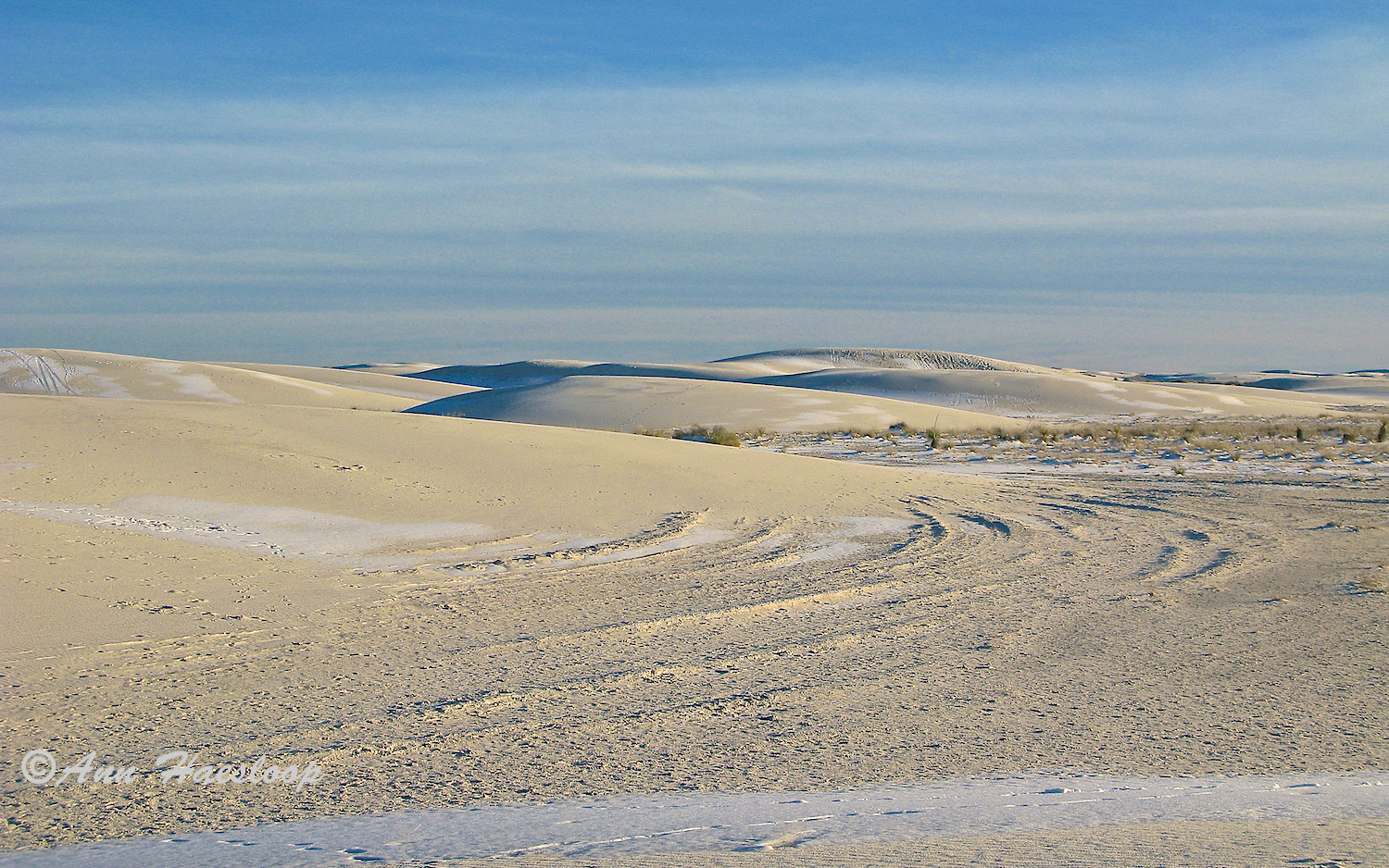 To me, these look more like mounds of sand rather than dunes. Ripple patterns left by melting snow demonstrate that the power of moving water can be just as interesting as ripples caused by moving air.