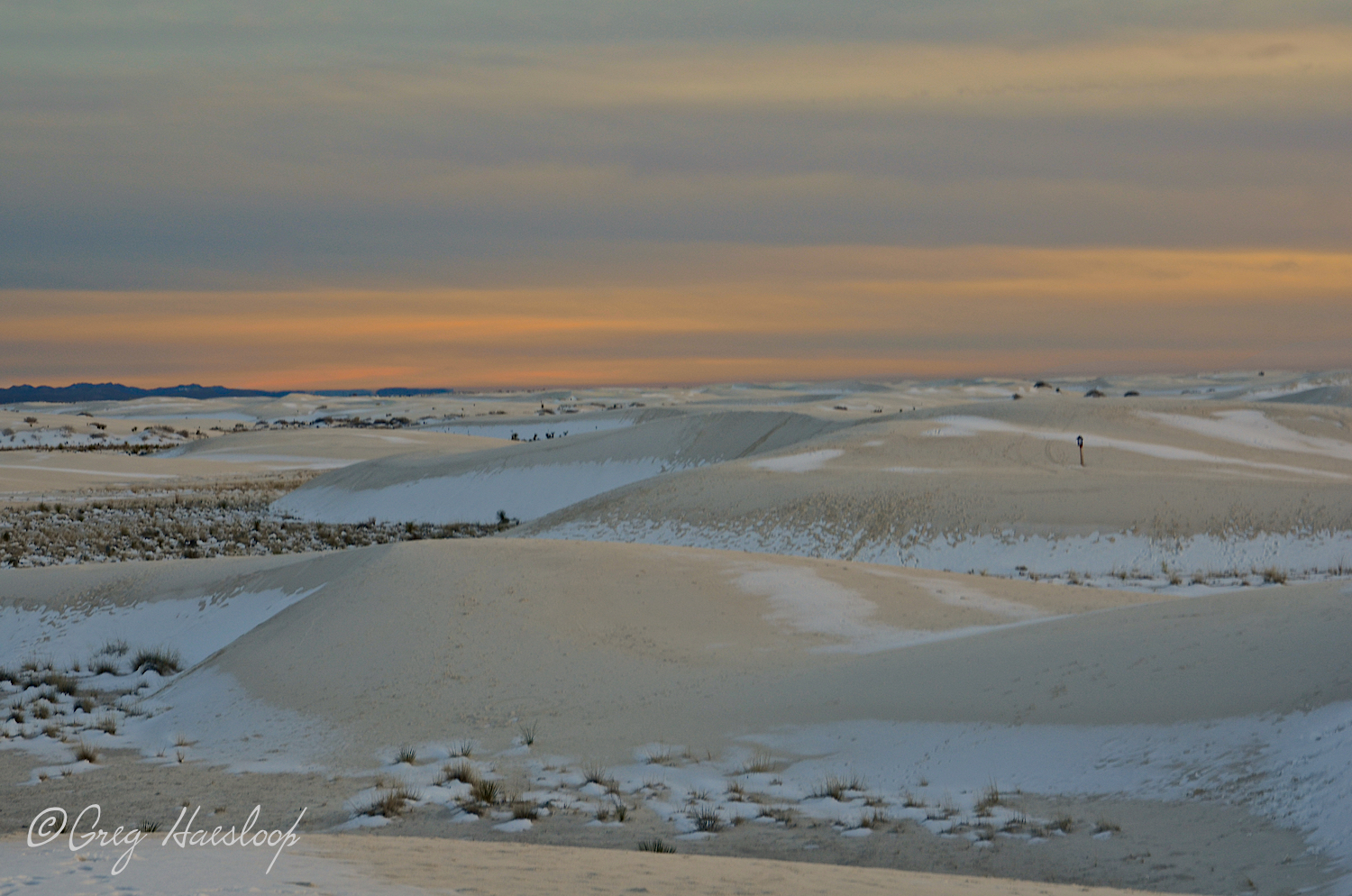 """Whether there is snow or just sand, the sun eventually sets, daily, actually. This is looking south as the Ranger drives by and breaks the intensely meditative mood set by this sort of scene. """"The monument is now closing. Please head to the exit."""""""