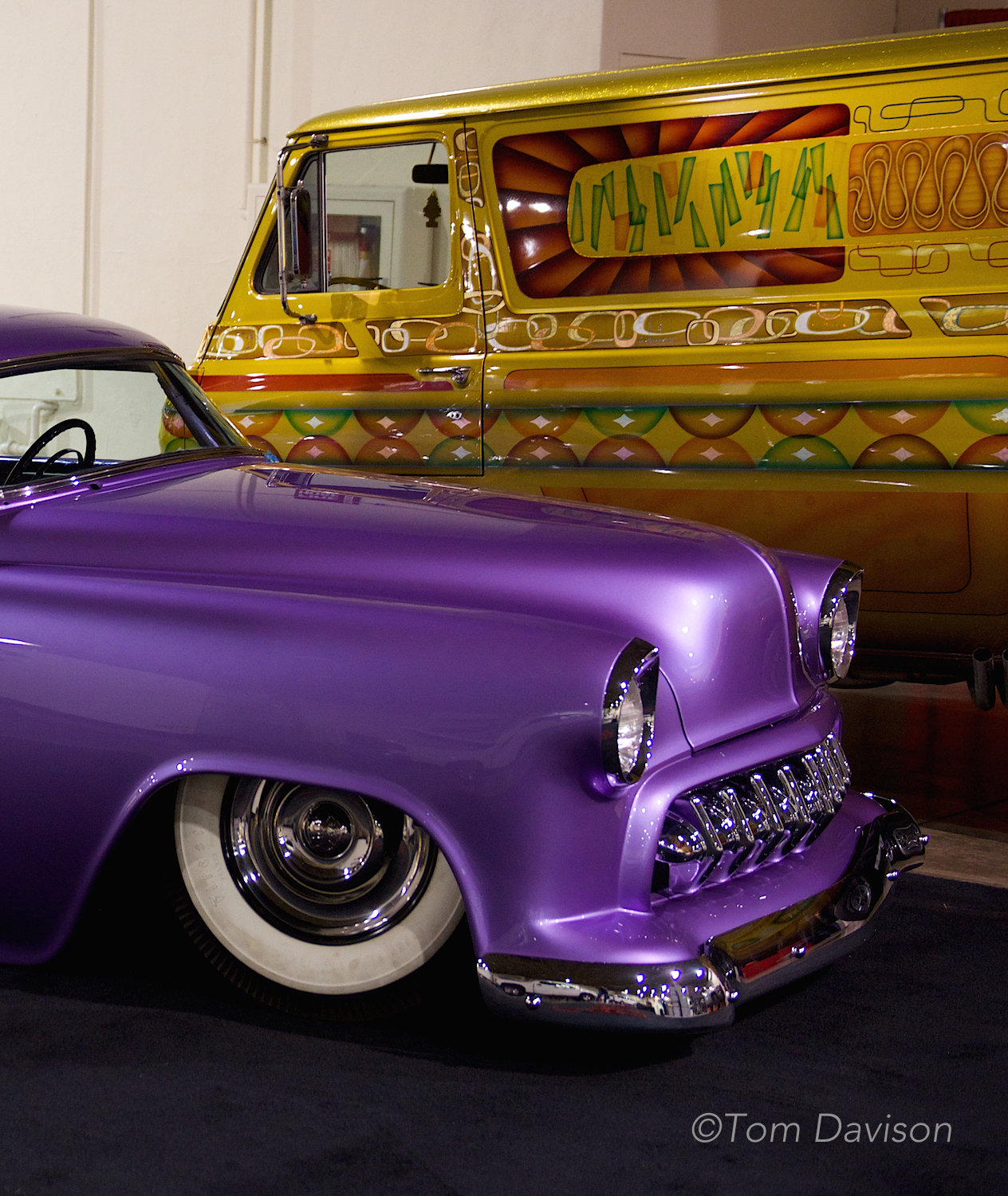 1954 Chevy with custom van in the background.