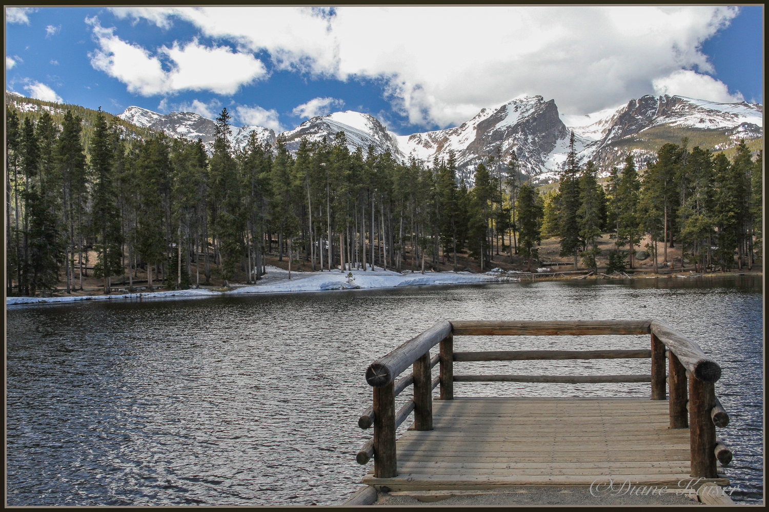 We hiked the perimeter of Sprague Lake (1/2 mile cold and windy).  Diane got the two best iconic shots.
