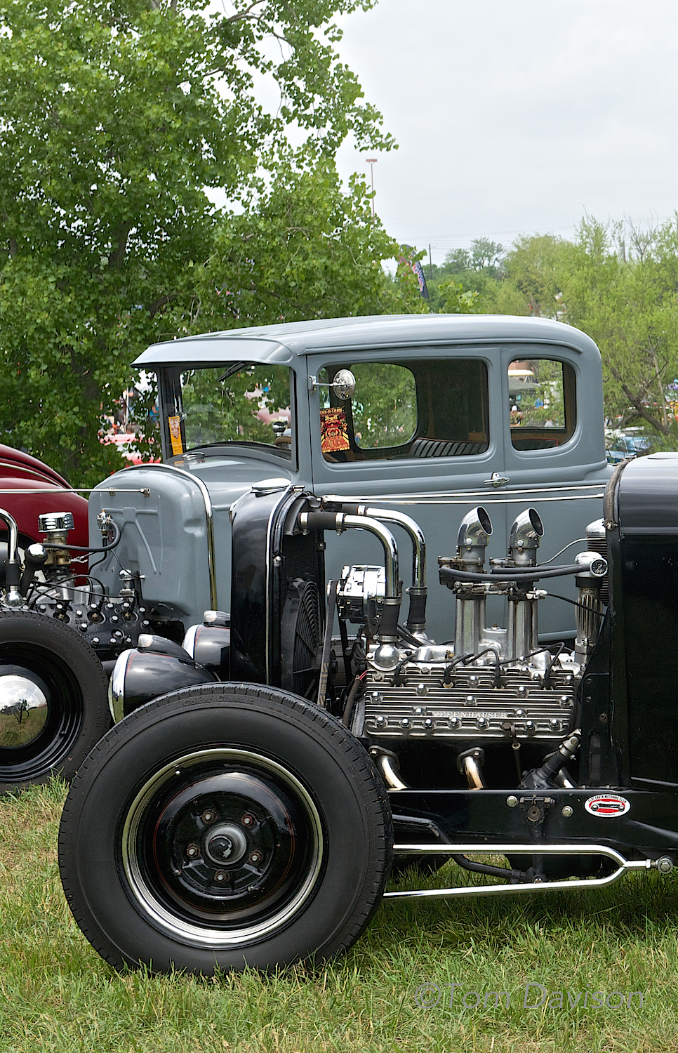A classic hot rod engine, the early Ford flathead.