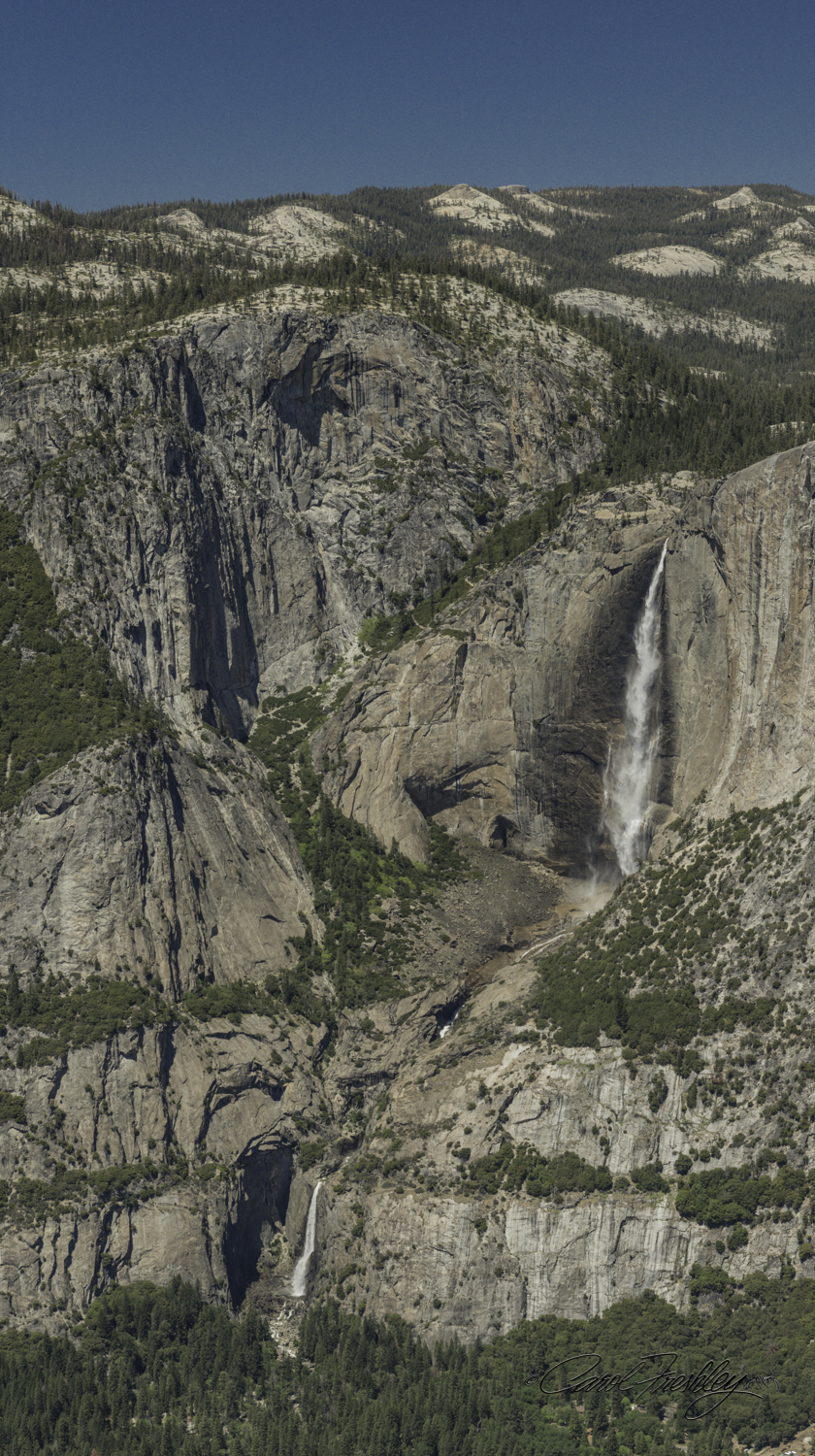 Taken from Glacier Point. Shows Upper and Lower Yosemite Falls.