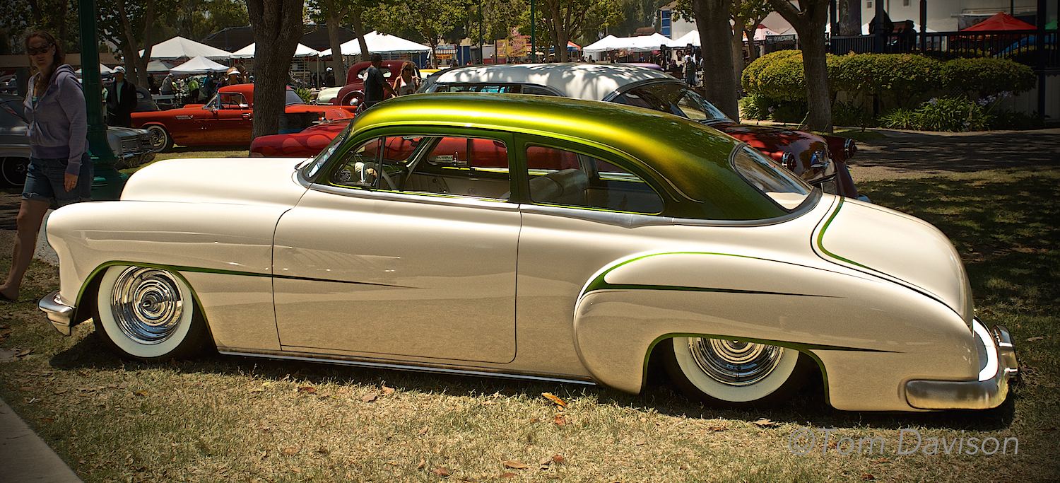 A 1950 Chevrolet coupe with chopped top.