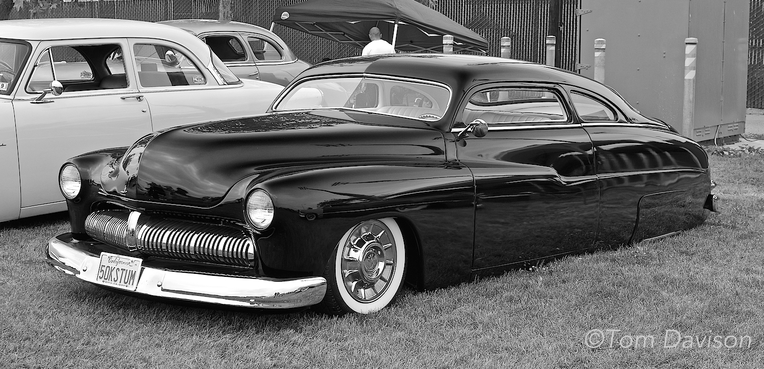 This is 'the' classic leadsled, a much lowered and chopped 1950 Mercury. Kinda sexy in my opinion!!