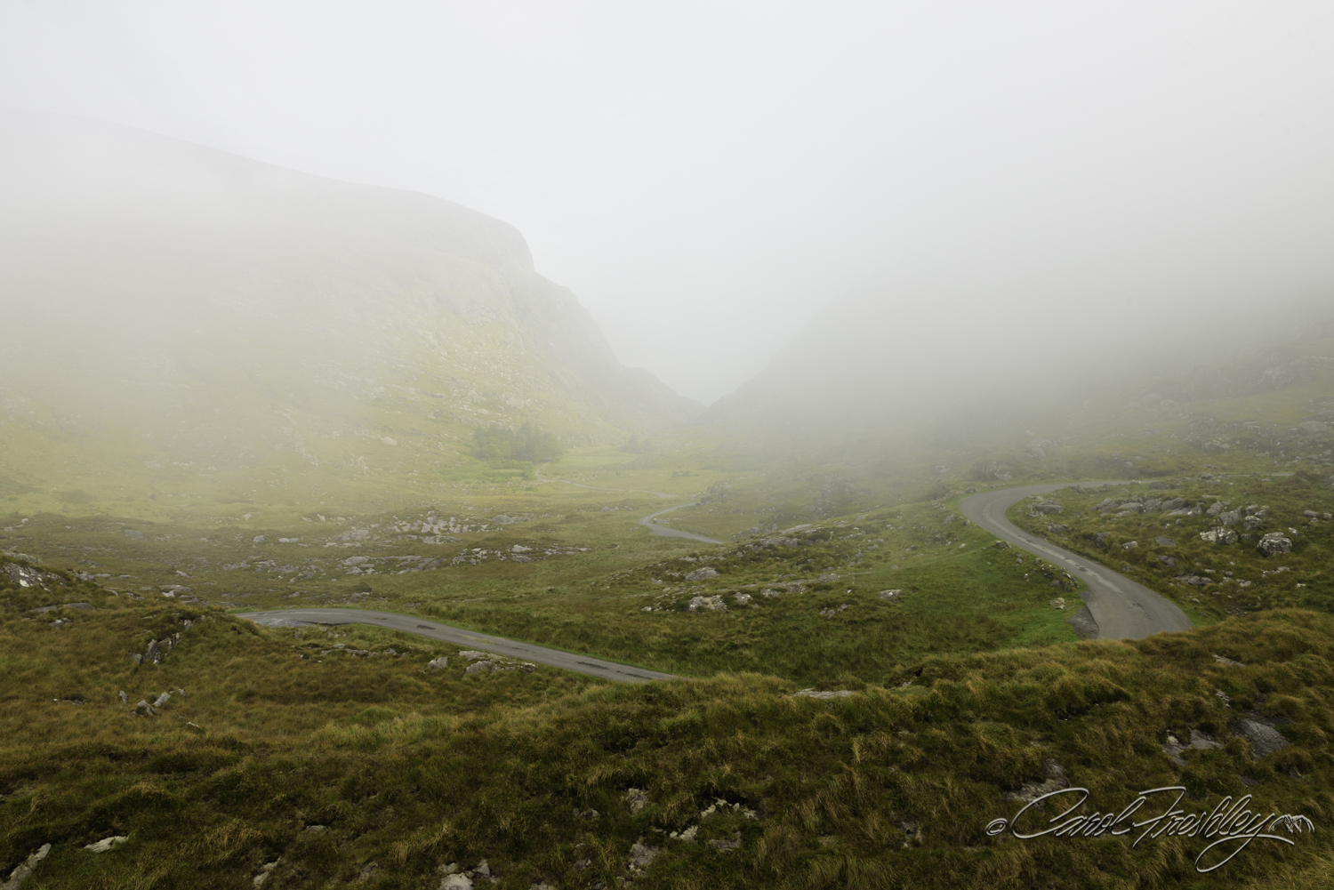 We were at the north end of the Gap of Dunloe.  Mother Nature has a way of playing with your mind.  Lovely Irish fog in the Gap.  That was OK.  We would go back.