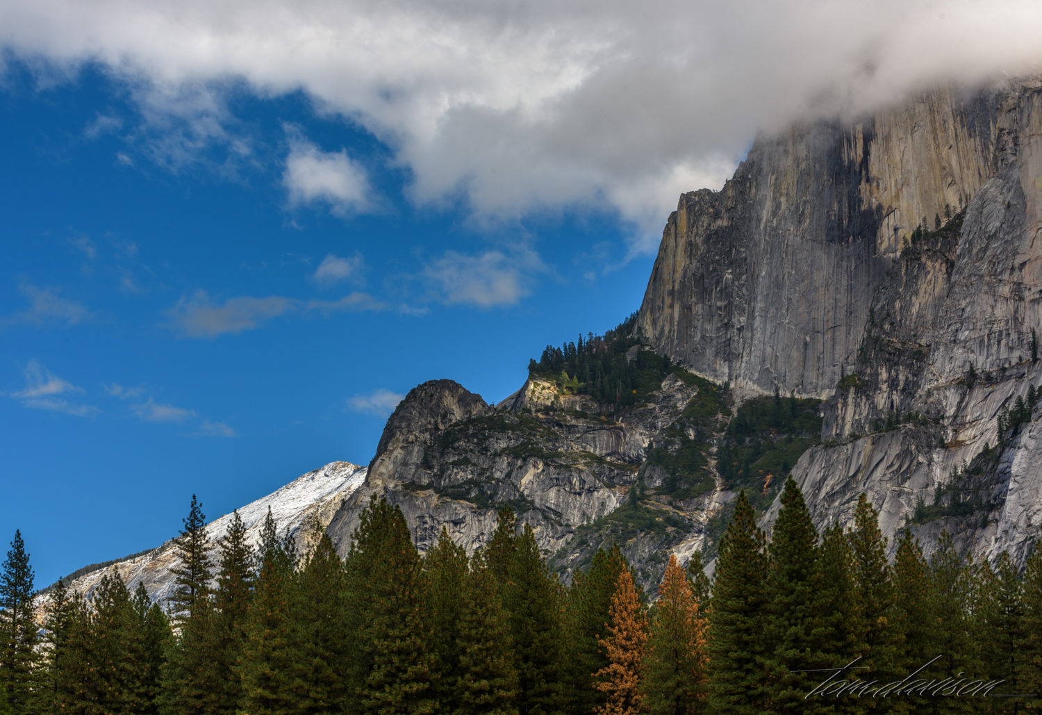 Upper part of Half Dome.  As the day progressed the clouds moved in.