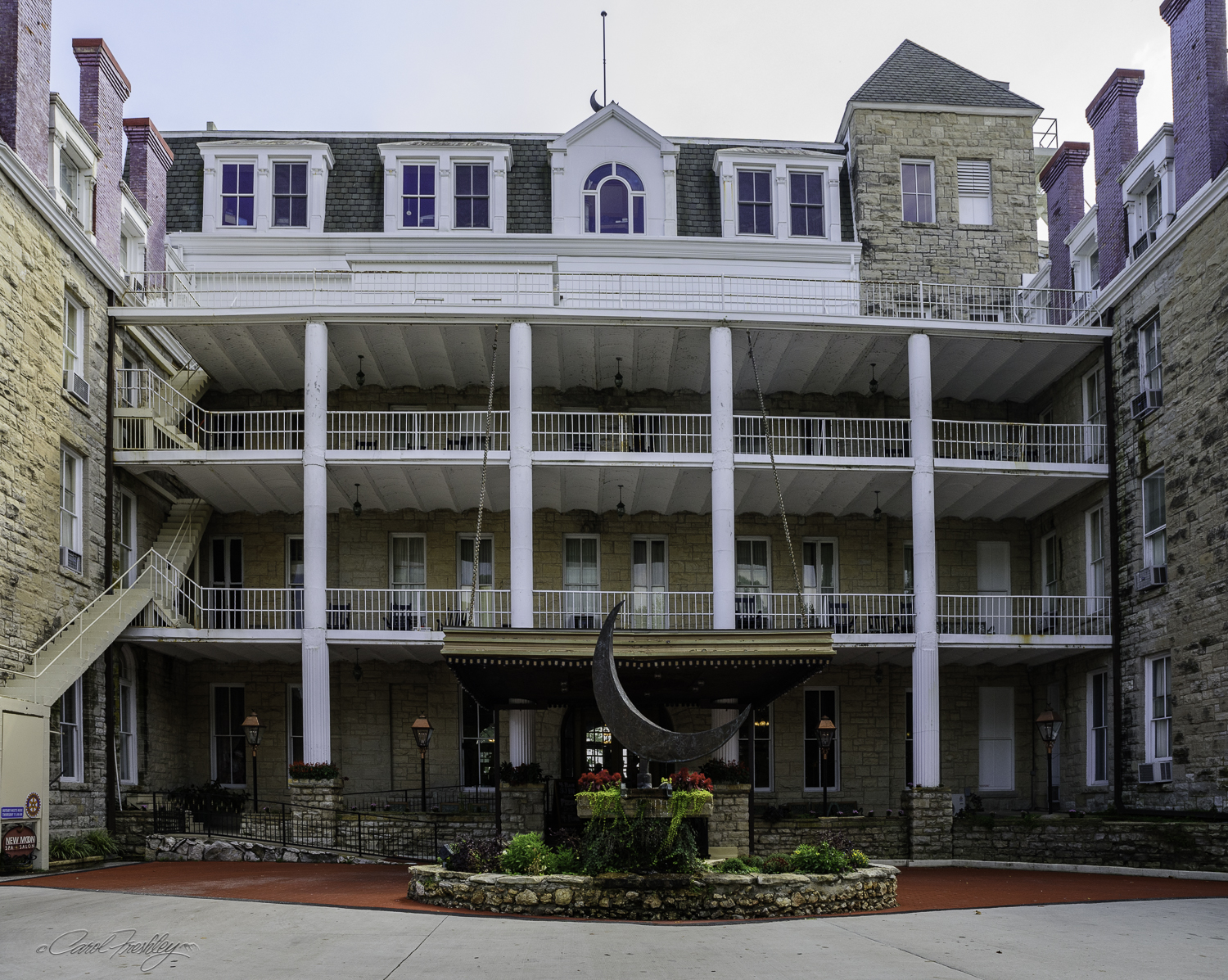 The Crescent Hotel is on the National Register of Historic Hotels. It was built in 1886. We had lunch there (pizza) and were welcome to take all the photographs we wanted, tripods welcome.