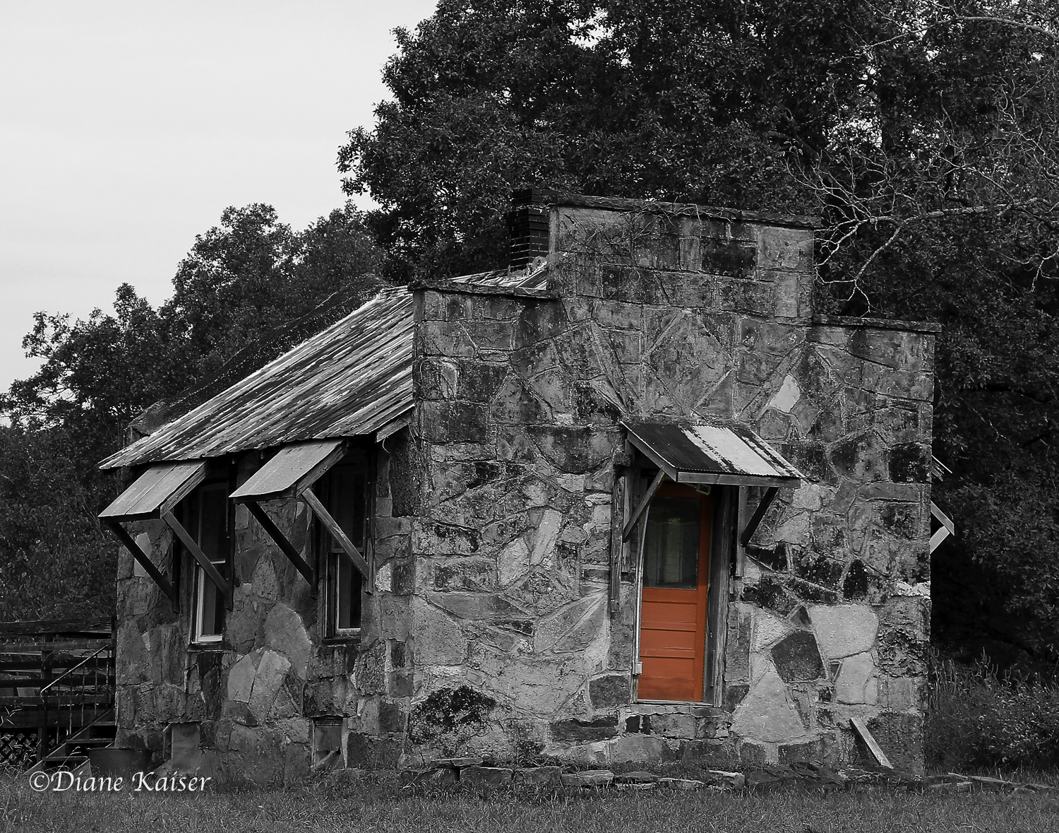 I put the color version of this image in Shared Photos. Diane turned it on its heels and just left the red door. I like it!