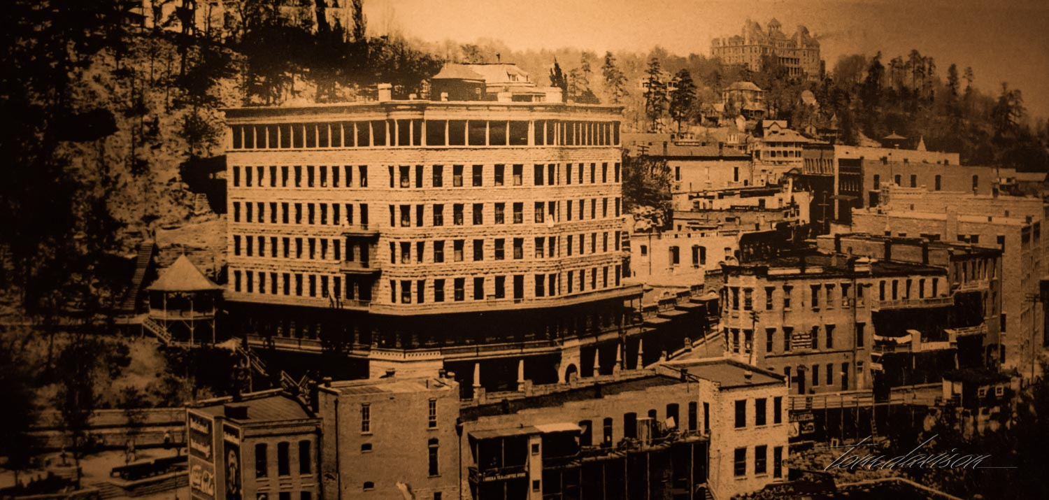 Photograph in one of the hotels of the town at turn of the century. The hotel in the back is the Crescent Hotel.