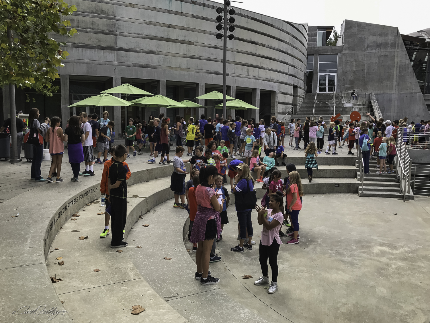 School children visiting the Museum filled the open spaces in a brief respite from rain.