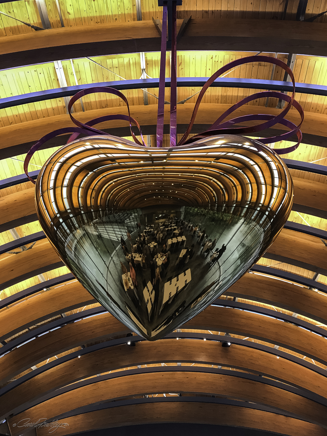 This larger than life heart hangs in the restaurant. I kept being amazed over and over about te impact of these curved beames.