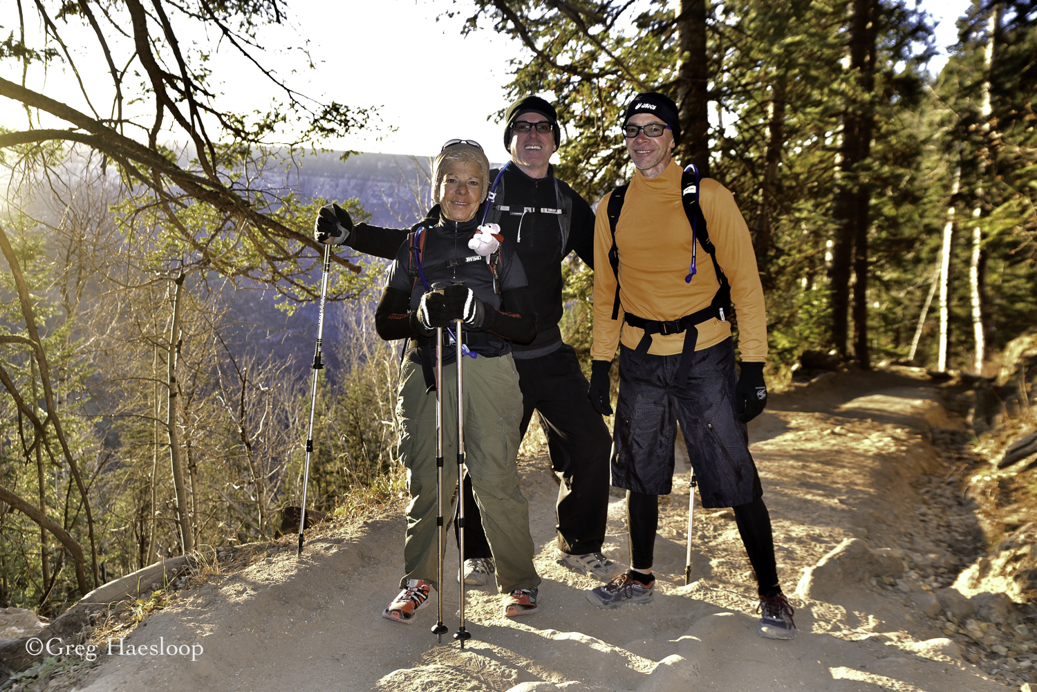 He hikers Ann (with Leftie attached), Brian and Andy.  Ann give me the clear impression that she has done a whole bunch of these hikes and is very comfortable about it.  They guy, well they just hope they can keep up with her!