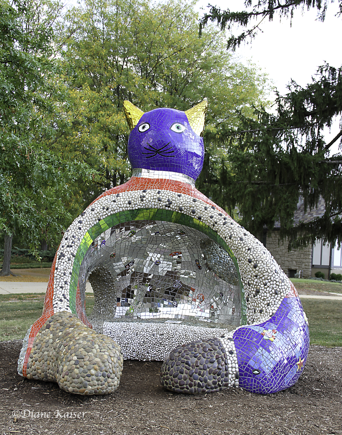 Ricardo Cat,  by Niki de Saint Phalle, 1999, urethane skin on steel, ceramic tile, stained glass mirrors, stones, in epoxy grout, silicone grout.