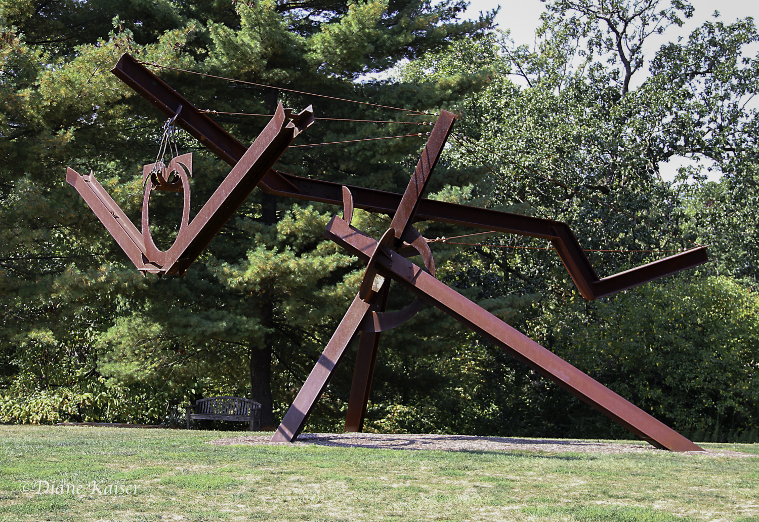 Bornibus,  by Mark di Suvero, 1985-87, steel, cable.