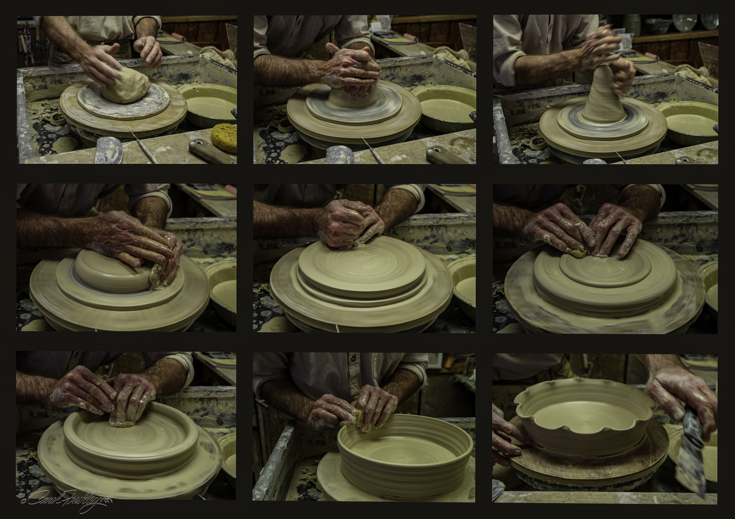The potter was busy but took time to explain all the steps he used in creating this functional art piece. This would be backed into a deep pie dish.