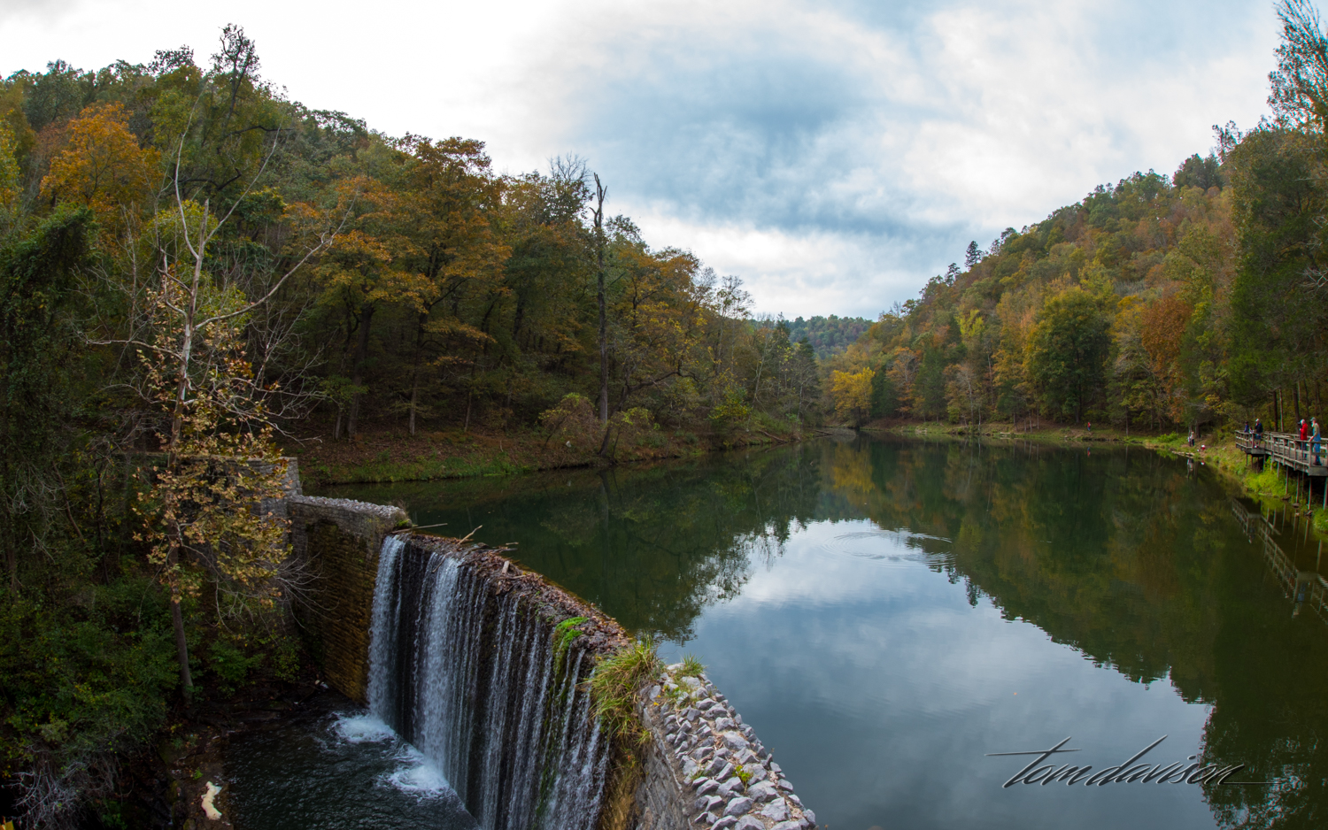 This dam is like many in the area. Made of stone and probably either rebuilt or raised in height by the CCC.