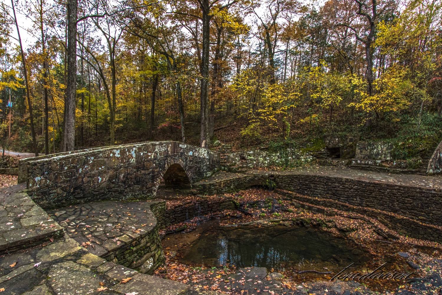 Several hiking paths begin across the bridge over the creek. One will take a hiker all the way to the Ozark Folk Center.