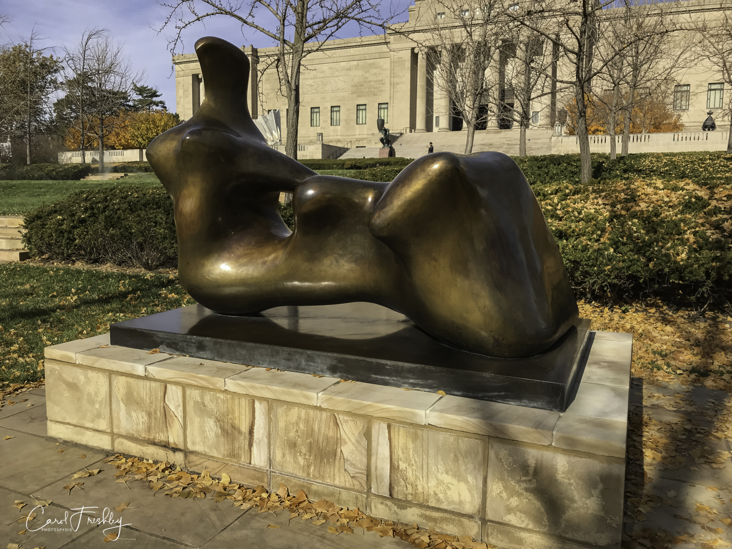 """Henry Moore's sculptures reflect his affinity for natural forms such as rocks, bones, mountains and the human figure.  In  Reclining Figure: Hand  he simplifies the form of a reclining female figure, allowing her sensuous curves to echo those of a landscape.  Moore preferred to see his work sited outdoors against the backdrop of sky and earth in order to underscore its relationship to nature.""  Henry Moore, English, 1898-1986, 1979 Bronze."