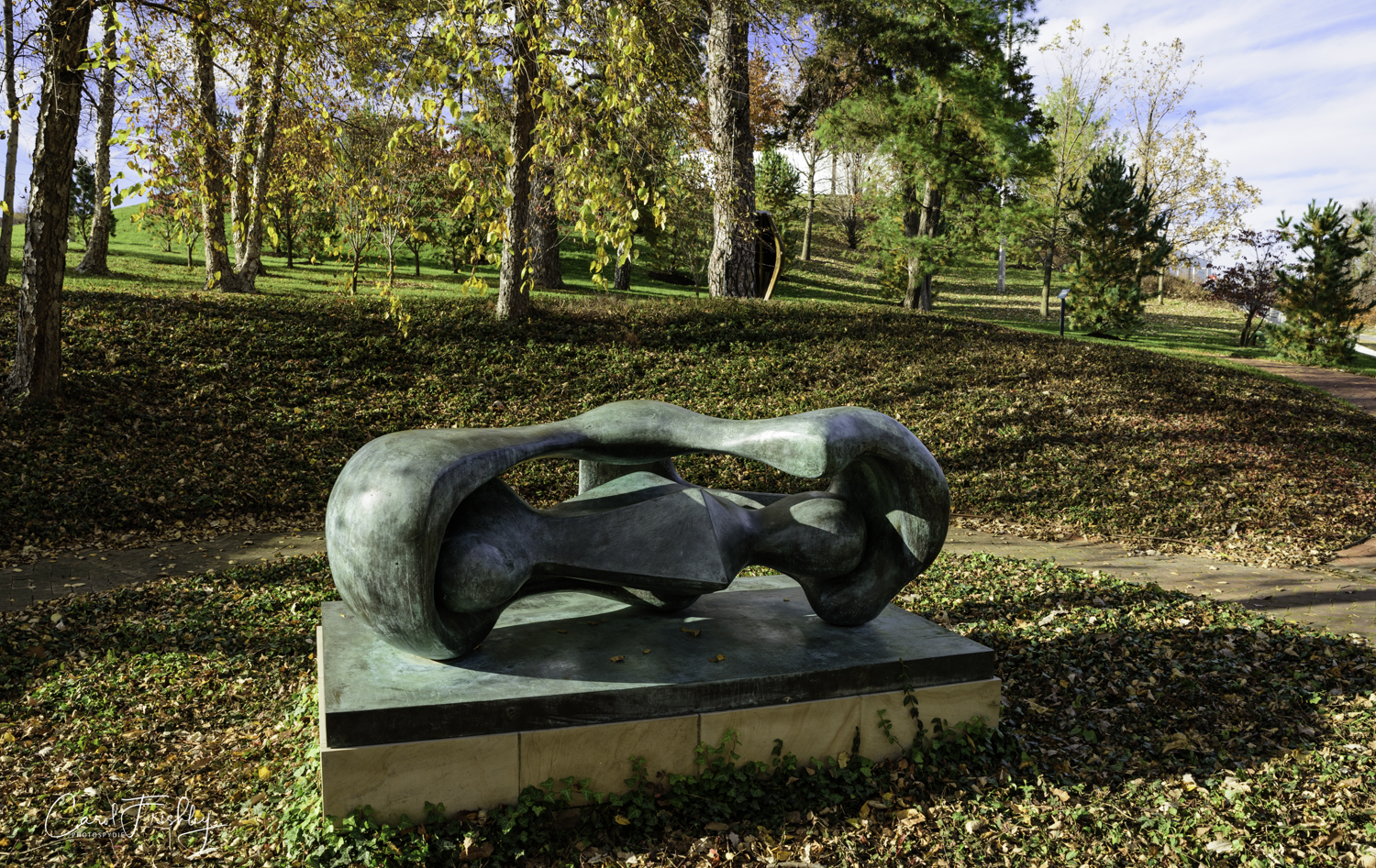 "Another Henry Moore sculpture,  Reclining Connected Forms,  1969 of bronze.  ""Although abstract, this sculpture is an example of Henry Moore's basic themes, that of mother and child.  The configuration of the sculpture suggests a maternal figure containing a childlike form within her protective embrace."