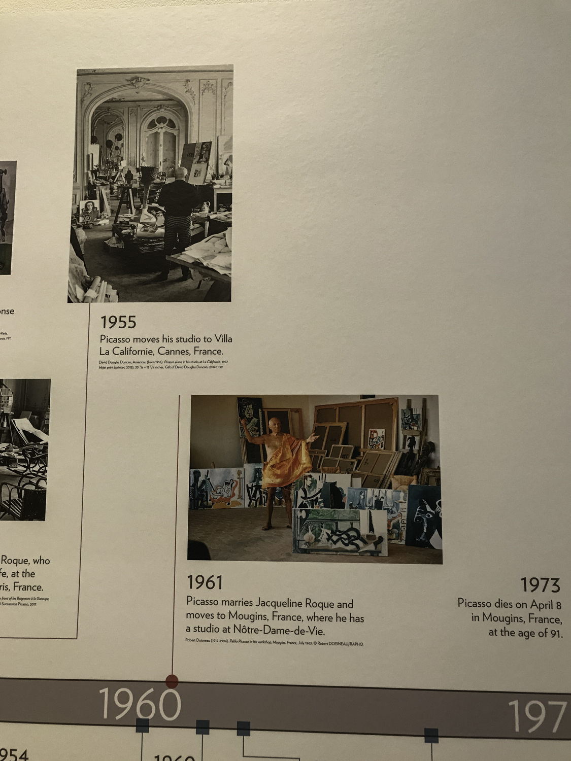 There was a long wall that featured a timeline of Picasso's life, showing significant events.  This is one of a number of photographs taken of the the whole thing.  It was useful to me to see how both his personal and artistic life evolved.