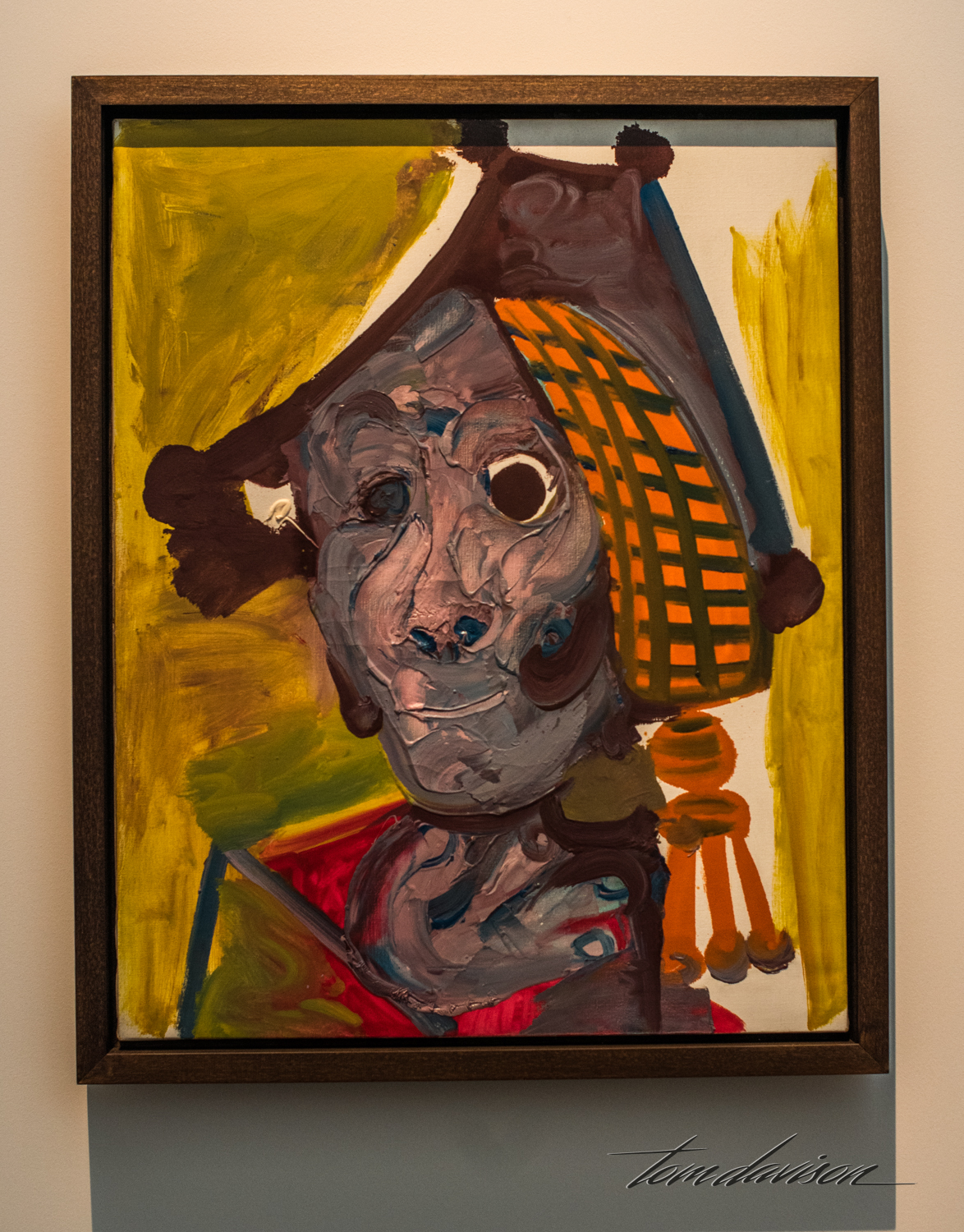 "Bullfighter, Oil on canvas, 1970. ""Picasso's father took him to see his first bullfight in 1889, when he was eight years old. The spectacle made a deep impression on him, and he made it the subject of his very first painting that year.  In 1934, he took up the bullfight as a theme, using it as a metaphor for life and death.  Here, Picasso painted himself as a bullfighter with his usual passion for color and feverish strokes.  Nearing 8]90, however, his stare has a tinge of world weariness."""