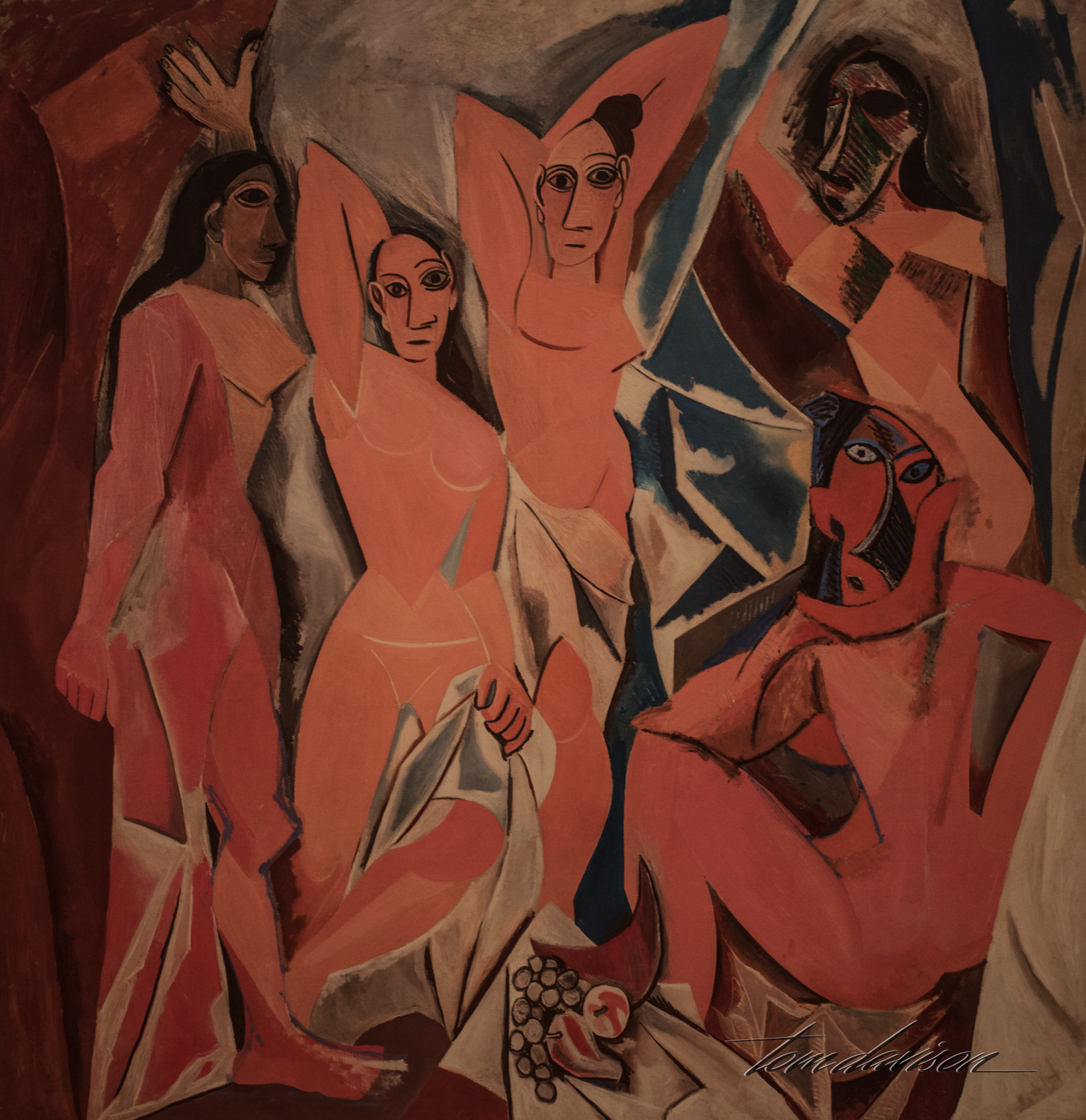 "Les Demoiselles d'Avignon,   Oil on canvas, 1907.  ""Considered one of the most famous works of art from the 20th century, Picasso's painting marks a radical break from traditional European painting.  Within a compressed space, five nude women appear to project from the picture's surface.  Their bodies are composed of flat, fractured planes, while their faces are inspired by Iberian sculpture and African masks.  This work signals a revolution in Picasso's style and established him as the leader of the Parisian avant-garde."