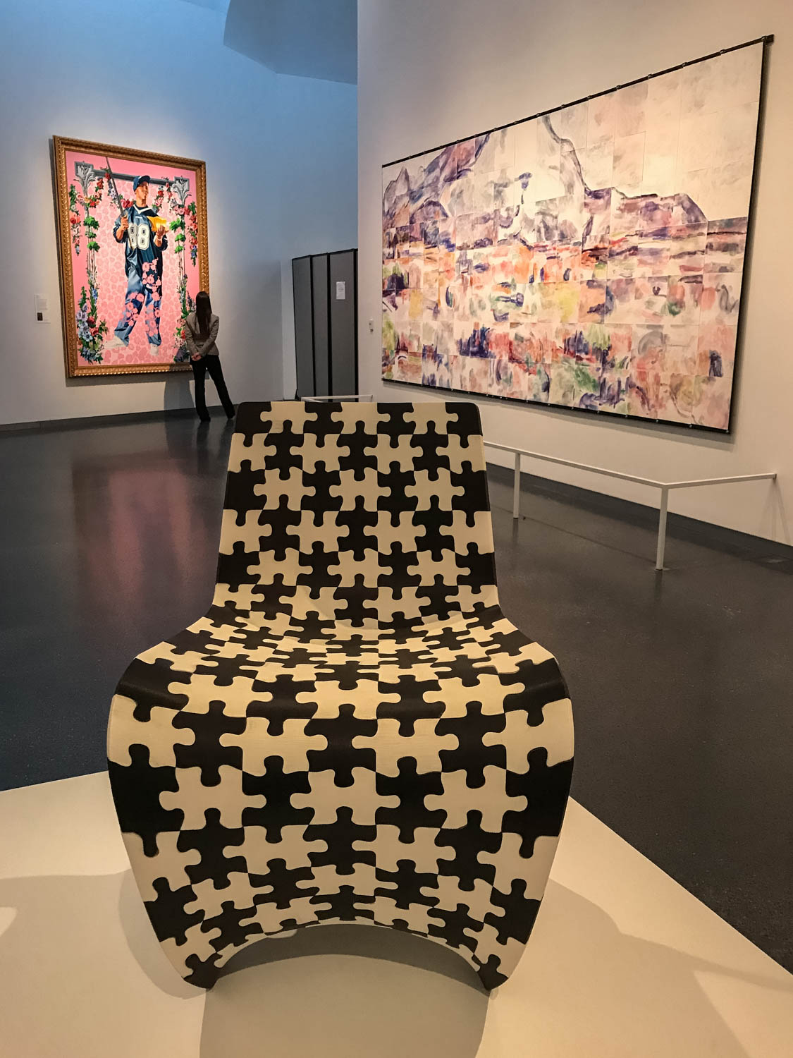 """Makerchair Jigsaw , prototype, 2014 by Joris Laarman (1979-), ABS (acrylonitrile butadiene styrene). """"Often 3-D printing is used for prototyping small objects. Here, Dutch designer Joris Laarman has pushed the boundaries by creating a functional chair constructed of printed components. This prototype features 202 black and white jigsaw pieces that fit together to form the back, seat and supports."""""""