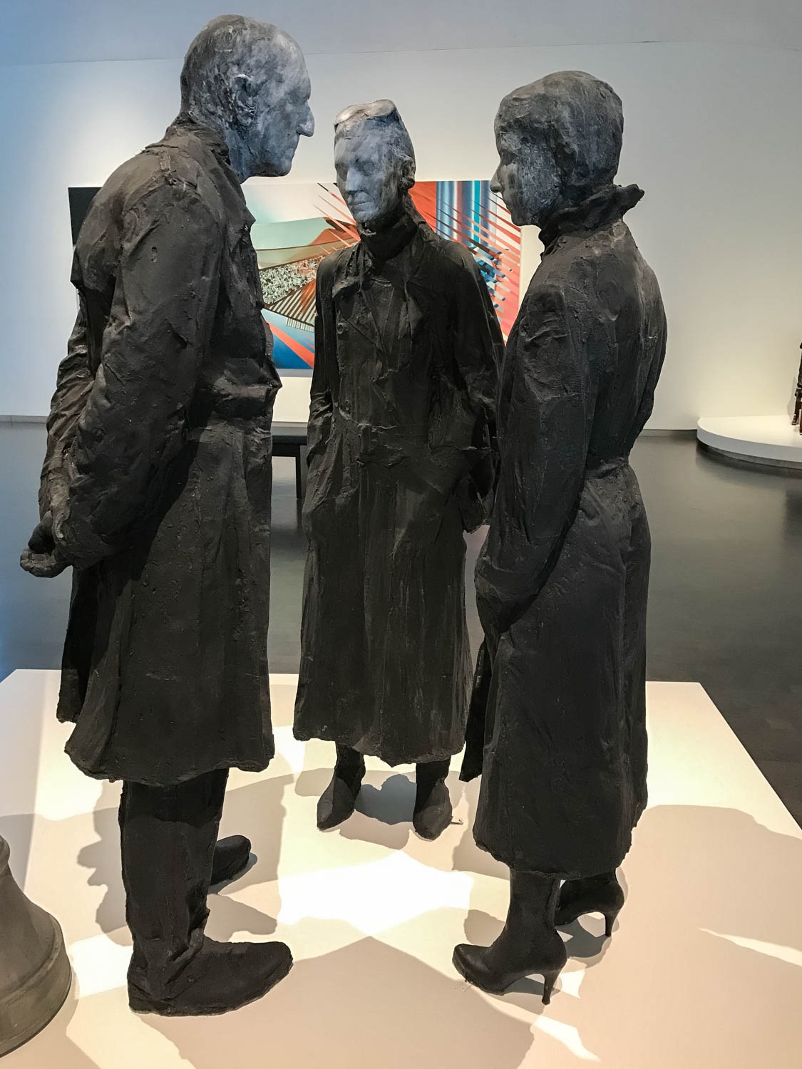 """Chance Meeting, 1989 by George Segal (1924-2000, Plaster, aluminum and galvanized steel. """" Chance Meeting """" represents one of George Segal's favorite motifs:people on city streets. . . This pose, along with the title, implies that they are friends or acquaintances who have unexpectedly met on the street. Segal often used family and friends as models. In  Chance Meeting, the woman wearing the high heels is the artist's daughter, Rena Segal. This plaster sculpture, part Pop Art and part Realism, contains details captured by the casting process, including folds in the clothing and even top stitching on seams."""""""