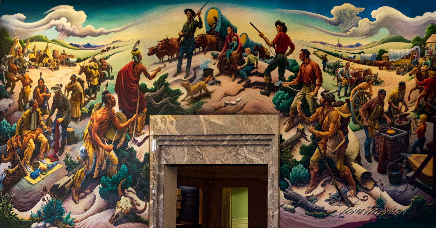 Tom did NOT use his fisheye for this photograph. Thomas Hart Benton, the artist, painted it in this manner. He is known for his surrealistic style. This painting recognizes the importance of Independence as the gateway to the west.