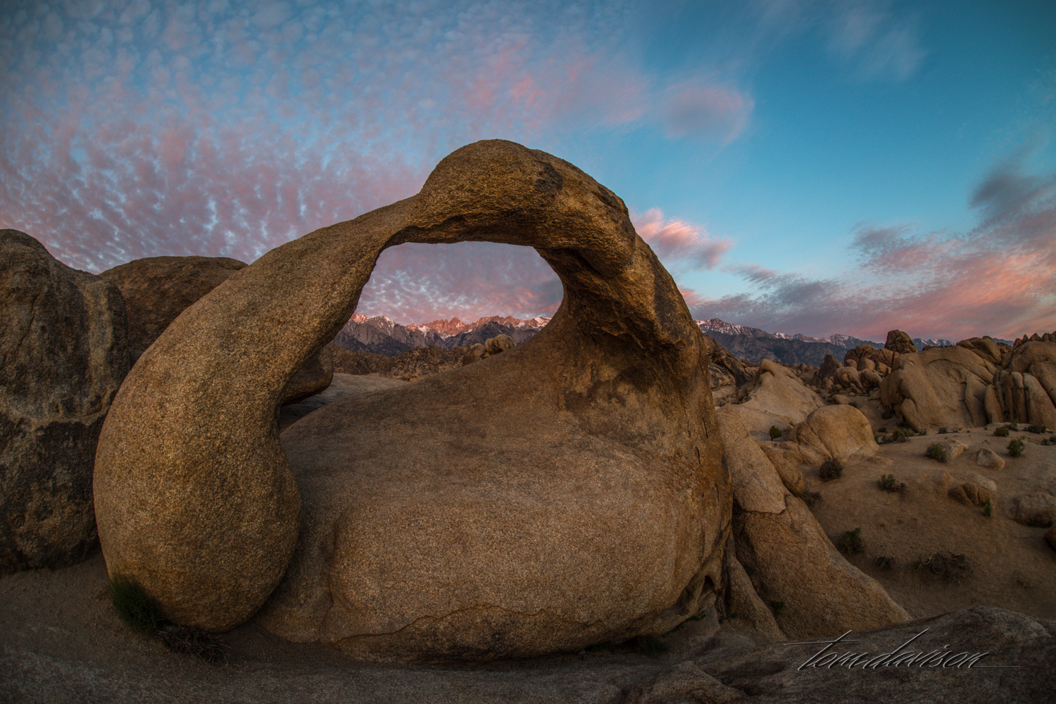 This is Mobius Arch at sunrise.  If you are lucky there are not too many photographers there to share space and precious sunrise time.