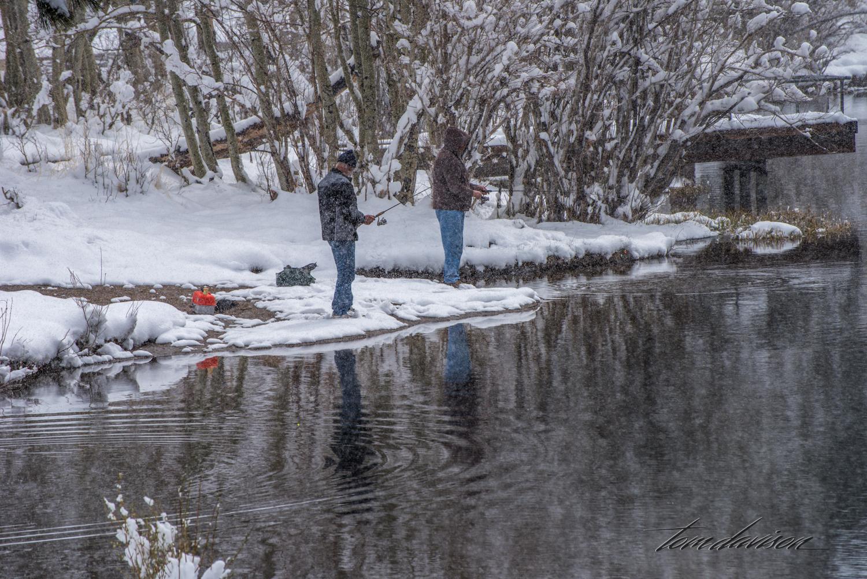 Fishermen at South Lake. Dedicated souls!!
