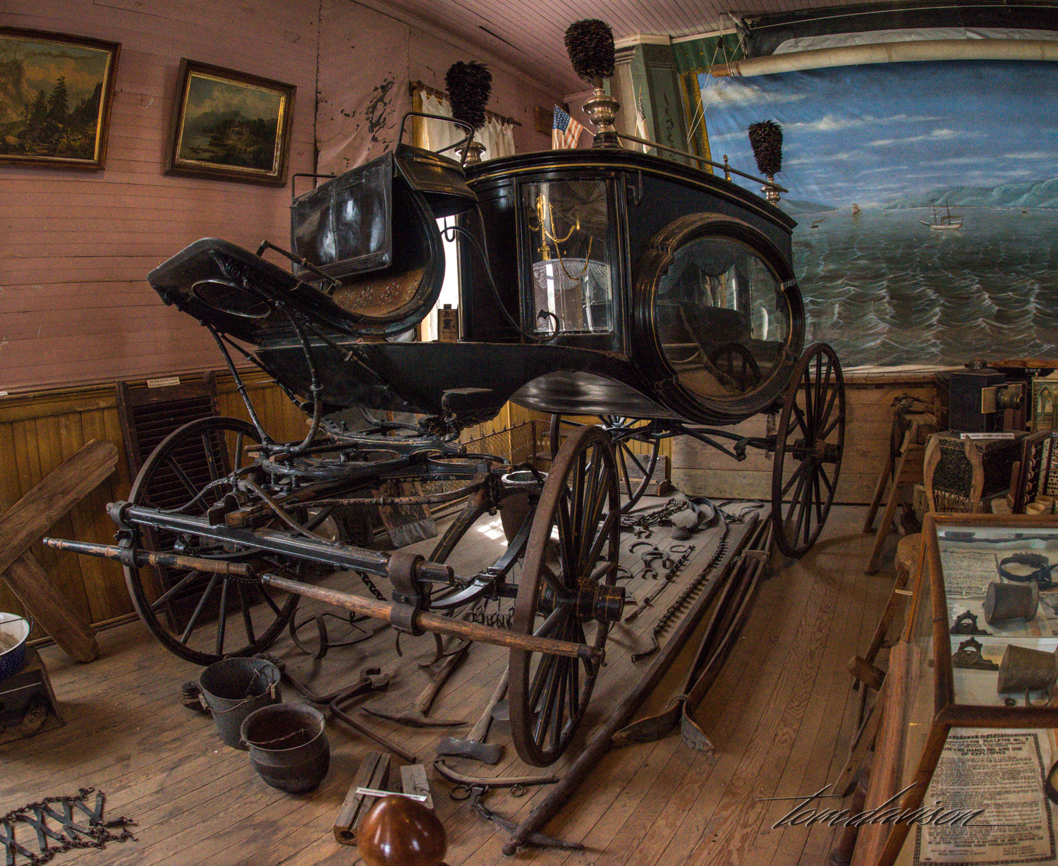 This hearse was found in the museum located in the central part of Bodie. I was surprised by its elegance. The town's cemetery is up the hill away from town and it would have been a very short ride in an elegant carriage.