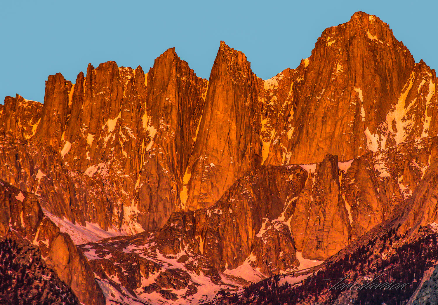 Top of Mt. Whitney at sunrise.