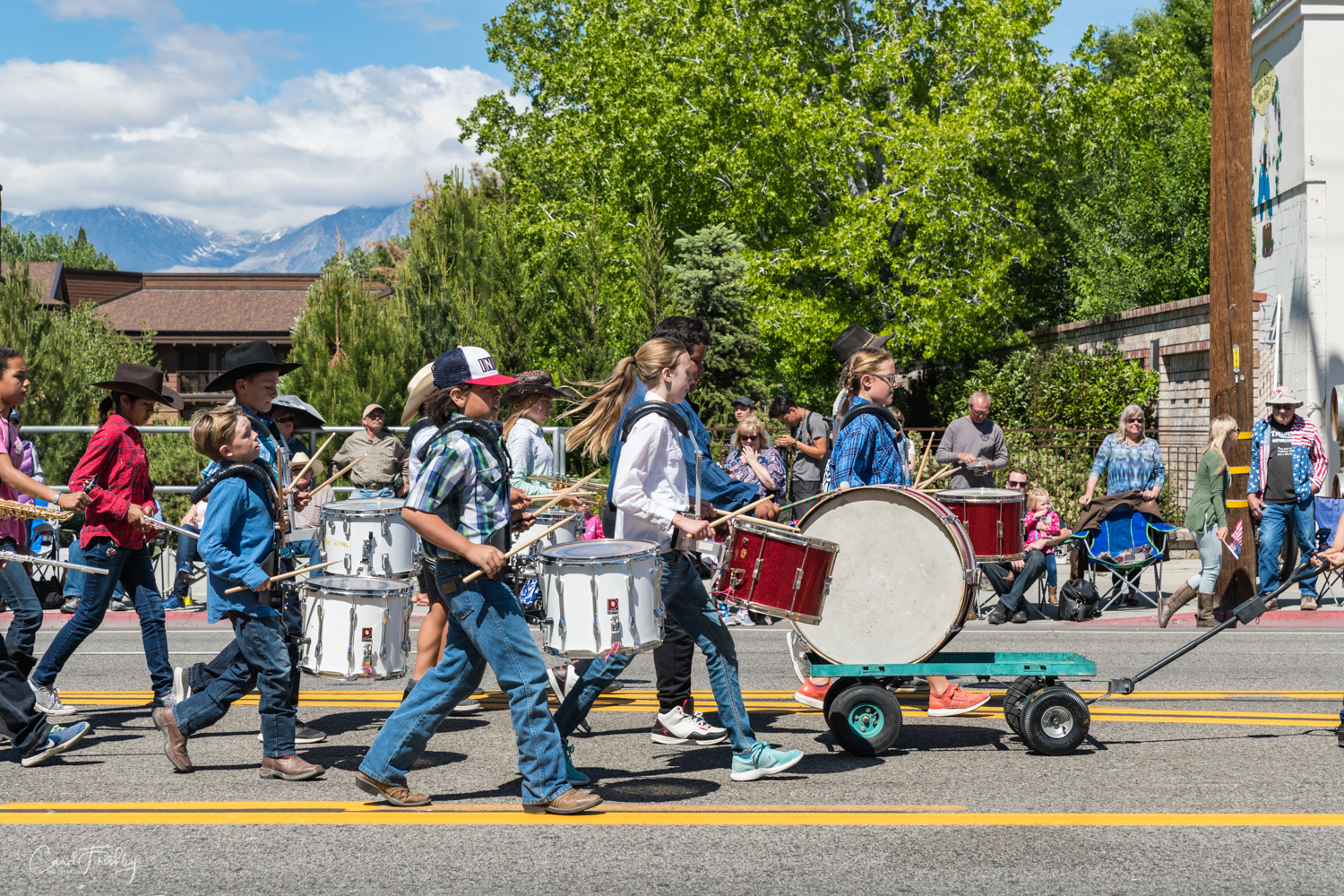 Fifth grade marching band marching in the Mule Days celebration in Bishop, CA