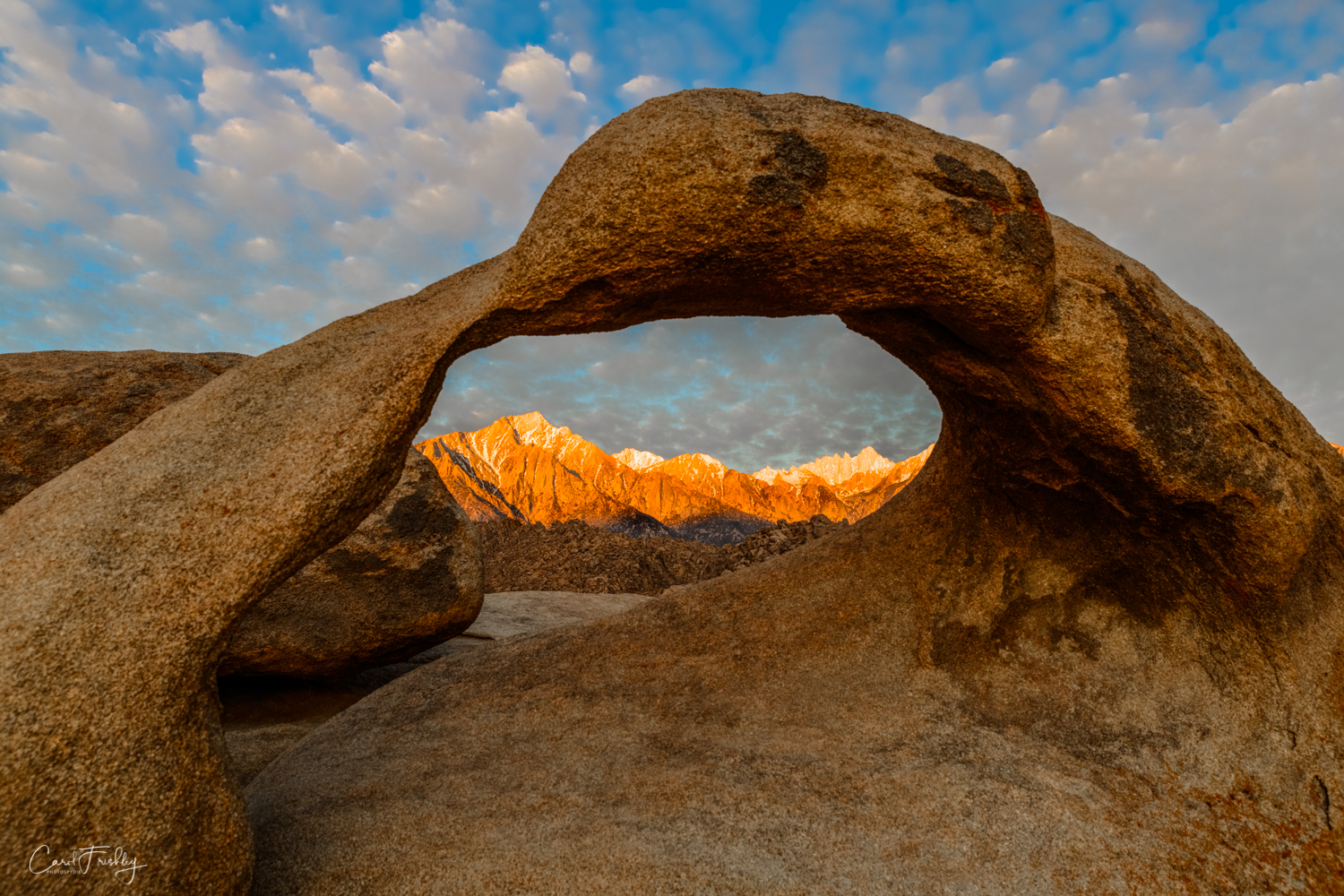 Sunrise on the Sierra as seen through Mobius Arch