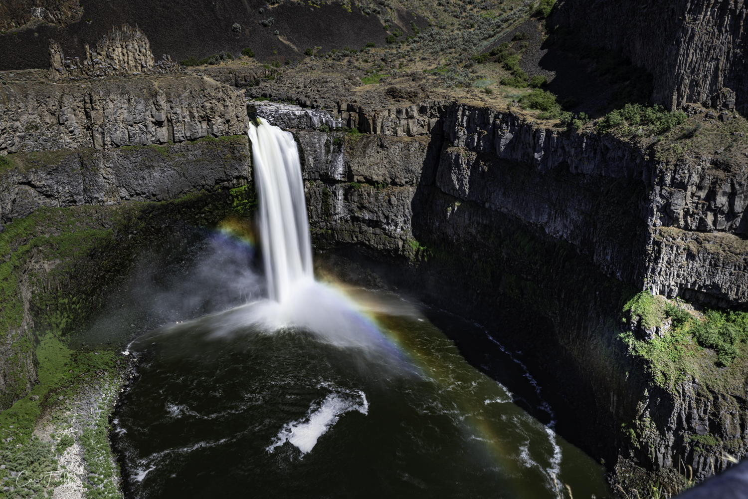 We have been to Palouse Falls before and have never seen a the rainbow.  It was a very nice surprise!