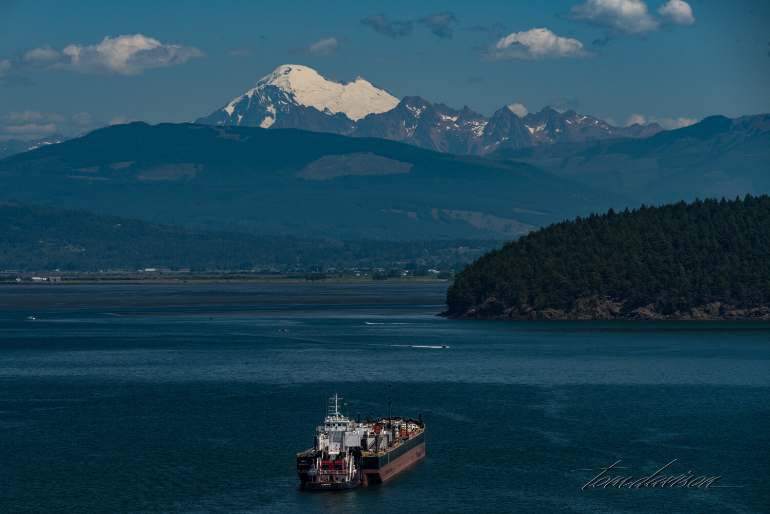 Mt. Baker in the background of Anacortes harbor.