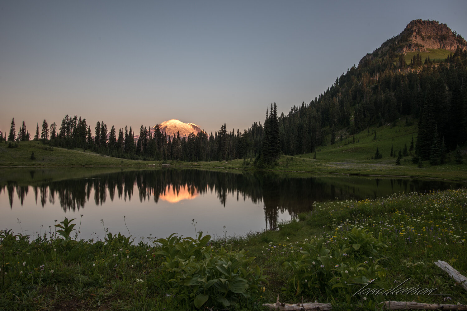 Sunrise at Tipsoo Lake.