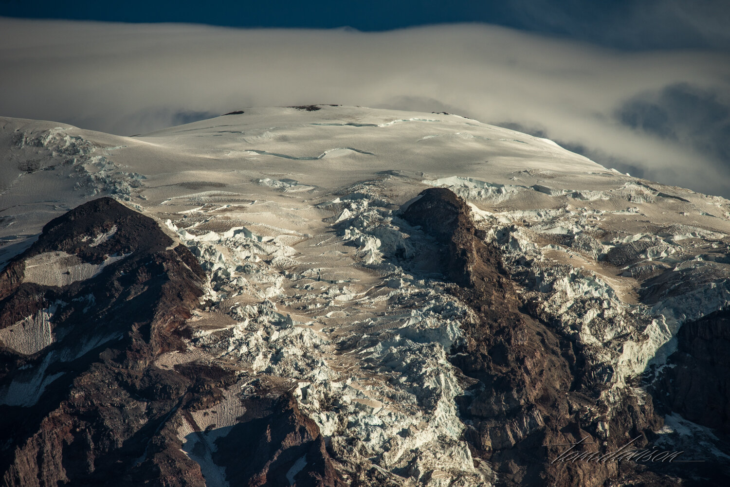 Telephoto capture of glacial ice.
