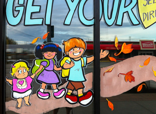 Window Painting for Global Securities, Port Coquitlam