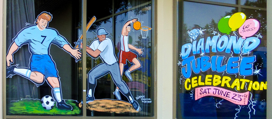 Window Painting for Bonsor Recreation Complex, Burnaby